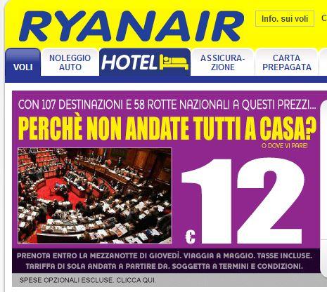 Ryanair ironizza sui politici invitandoli ad un viaggio di sola andata!