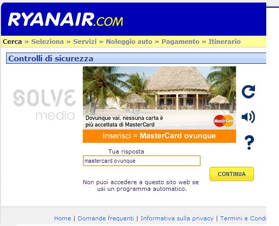 Ryanair: MasterCard ovunque…anche nel controllo di sicurezza!