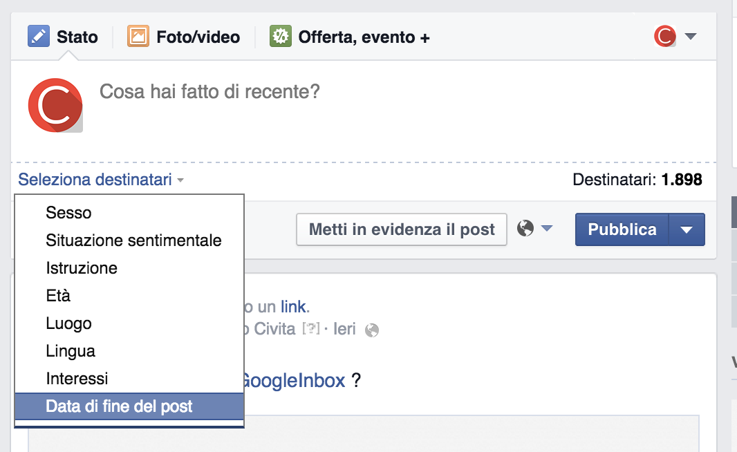 Data fine post facebook
