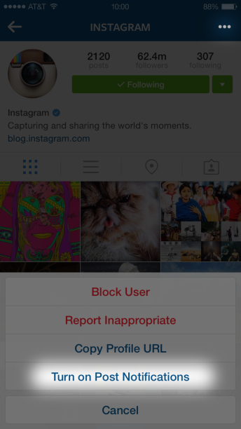 Attivare notifiche Instagram